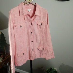 Jjill Pale Red 100% Linen Jacket SZ XL TALL